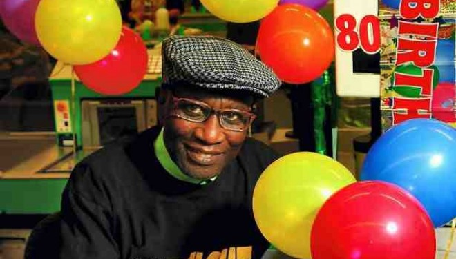 Eddie Adegun pictured at the Asda store when he turned 80